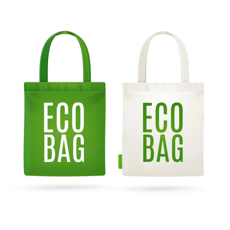 Illustration pour Eco Fabric Cloth Bag Tote Isolated on White Background. Care about the Environment. Vector illustration - image libre de droit