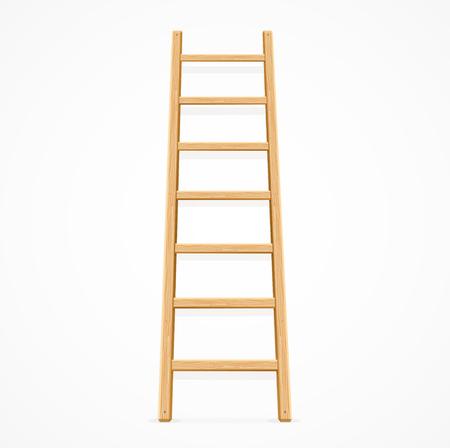 Ilustración de Wooden Ladder Isolated on White Background. Vector illustration - Imagen libre de derechos