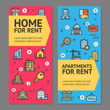 Illustration pour Building House or Home and Apartment for Rent Flyer Banner Posters Card Set. Vector - image libre de droit