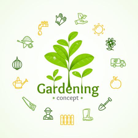 Illustration pour Gardening Signs Round Design Template Line Icon Concept Vector - image libre de droit