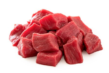 Photo for Pile of beef cubes isolated on white. - Royalty Free Image