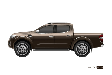Illustration pour Off-road car on white background. Image of a brown pickup truck in a realistic style. Vector illustration - image libre de droit