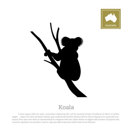 Illustration pour Black silhouette of koala on white background. Animal of Australia - image libre de droit