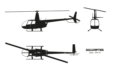 Illustration pour Black silhouette of helicopter on white background. Top, front and side view. Detailed image of business vehicle.  Industrial isolated drawing. Vector illustration - image libre de droit