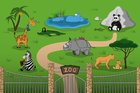 Ilustración de Animals of zoo in cartoon style. Scene with funny characters. Wildlife poster - Imagen libre de derechos