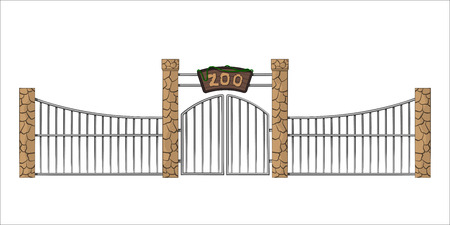 Ilustración de Zoo gate. Isolated object in cartoon style on white background. Gateway with lattice - Imagen libre de derechos