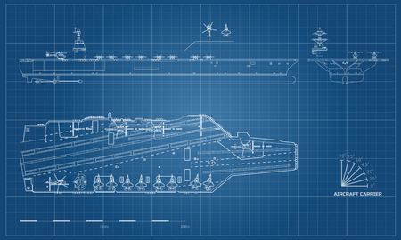 Ilustración de Blueprint of aircraft carrier. Military ship. Top, front and side view. Battleship model. Industrial drawing. Warship in outline style - Imagen libre de derechos