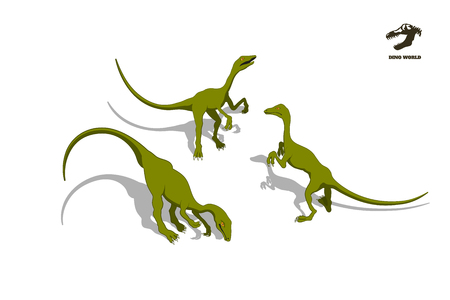 Ilustración de Small dinosaur  in isometric style. Isolated image of jurassic monster. Cartoon dino 3d icon - Imagen libre de derechos