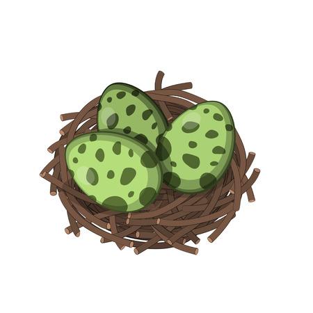 Ilustración de Dinosaurs nest with eggs in isometric style. Isolated image of jurassic monsters - Imagen libre de derechos