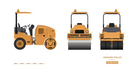 Illustration pour Vibratory roller in realistic style. Side, back and front view. Building machinery 3d image. Industrial isolated drawing of orange asphalt compactor. Diesel vehicle blueprint. Vector illustration - image libre de droit