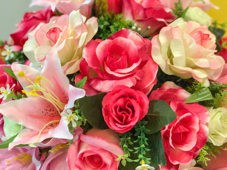 Photo for close up of Bunch of roses in vase - Royalty Free Image