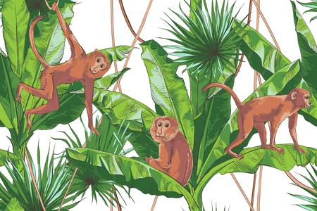 Illustration pour Tropical bananas palm, monkey, textural seamless pattern. Large palm foliage nature background. Vintage design for banner, textile, wallpaper. Vector watercolor illustration. - image libre de droit