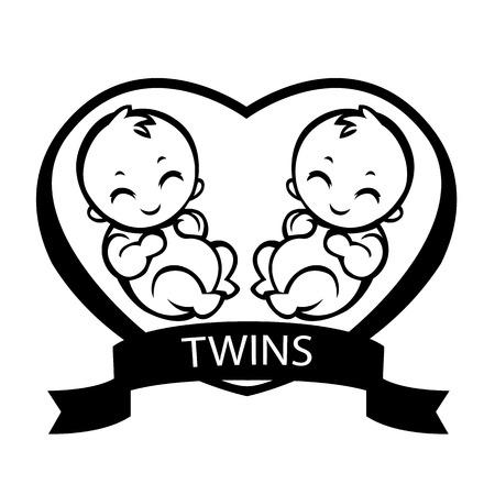 Ilustración de twin children born twins allegorical painting love for children vector drawing stylization suitable for  signs - Imagen libre de derechos