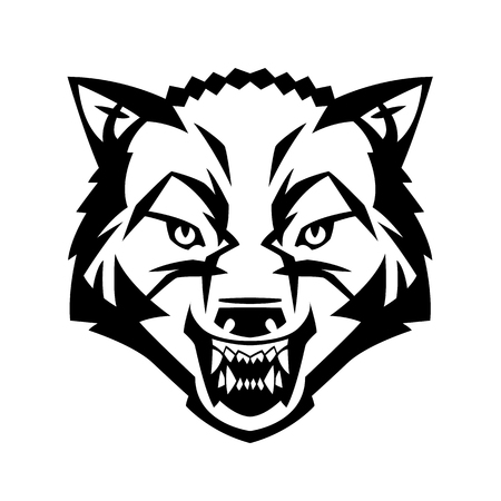 wolf's head showing teeth harsh beast hunter forest vector can be used as a tattoo