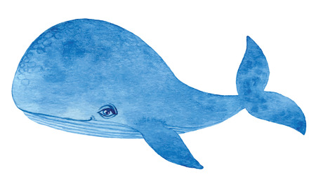 Illustration for blue whale - watercolor cartoon hand drawing vector paint - Royalty Free Image