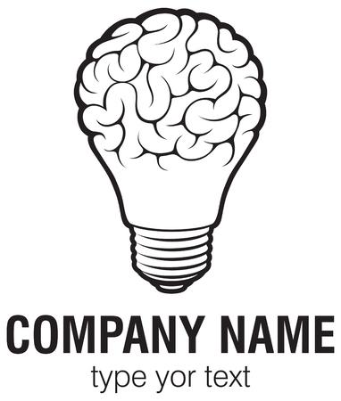 Illustration pour Light bulb idea with brain vector logo template. Corporate icon such as logotype. Creative light bulb idea brain vector. - image libre de droit