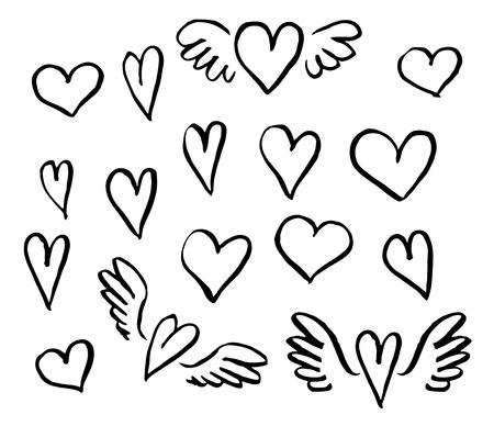 Illustrazione per Vector illustration hand drawn hearts set  of design elements - Immagini Royalty Free