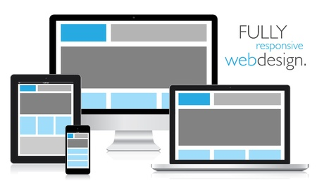 Illustration for Fully responsive web design in electronic devices  - Royalty Free Image