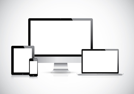 Illustration for Top quality electronic devices empty screen pack  - Royalty Free Image
