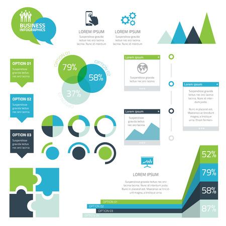 Illustration pour Modern set of business infographic vector elements - image libre de droit