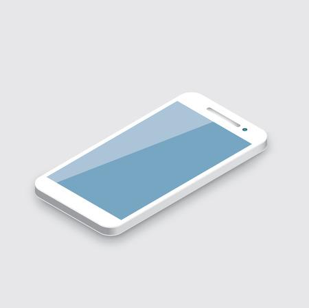 Illustration pour Mobile phone isolated on white  Realistic white 3d smartphone vector  - image libre de droit