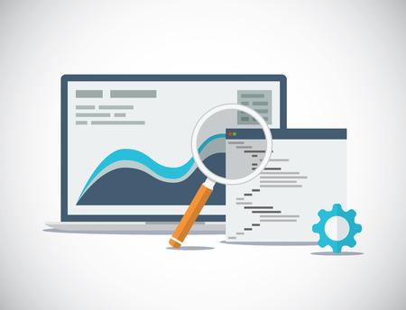 Illustration pour Website SEO analysis and process flat vector concept - image libre de droit