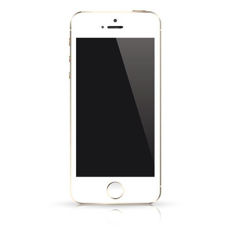 Ilustración de Modern white mobile phone isolated  Vector illustration  - Imagen libre de derechos