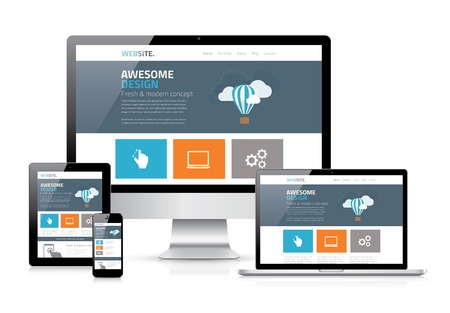 Illustration pour Modern flat web design in responsive website vector - image libre de droit