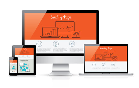 Illustration for Responsive landing page development template illustration - Royalty Free Image