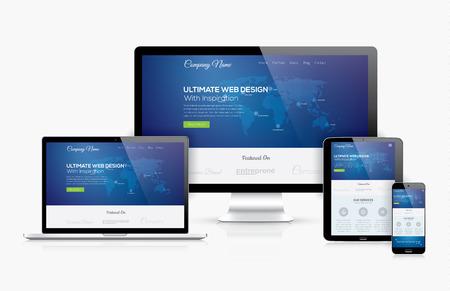 Ilustración de Responsive web design template realistic vector devices concept - Imagen libre de derechos