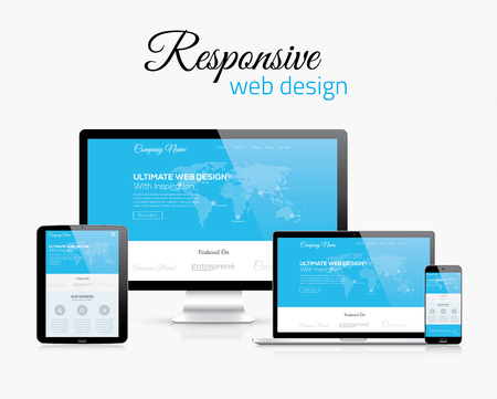 Illustration for Responsive web design in modern flat vector style concept image - Royalty Free Image