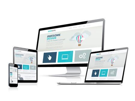 Illustrazione per Awesome responsive web design development side displays - Immagini Royalty Free