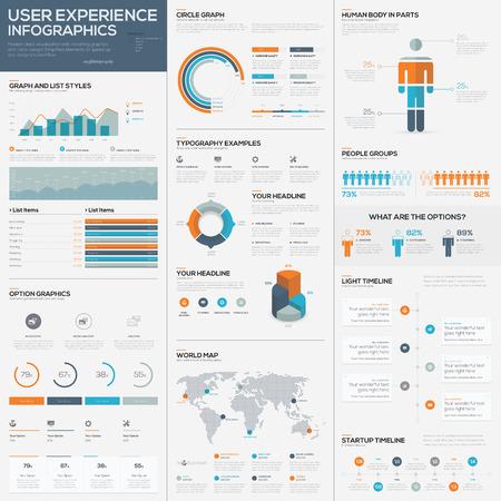 Illustration pour Big pack of data visualization vector infographics and elements - image libre de droit