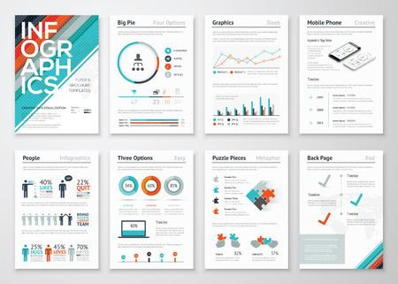 Illustration pour Infographic flyer and brochure elements for data visualization - image libre de droit