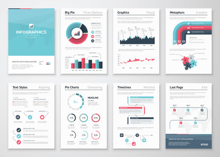Illustration pour Big set of infographic vector elements and business brochures - image libre de droit
