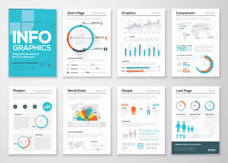 Ilustración de Big set of infographics elements in modern flat business style - Imagen libre de derechos