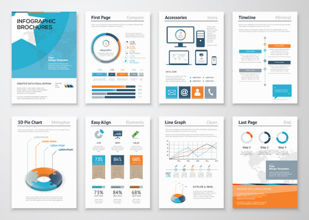 Foto per Collection Infographic elements for business brochures - Immagine Royalty Free
