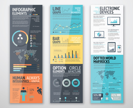Ilustración de Infographic templates in well arranged order ready for use - Imagen libre de derechos