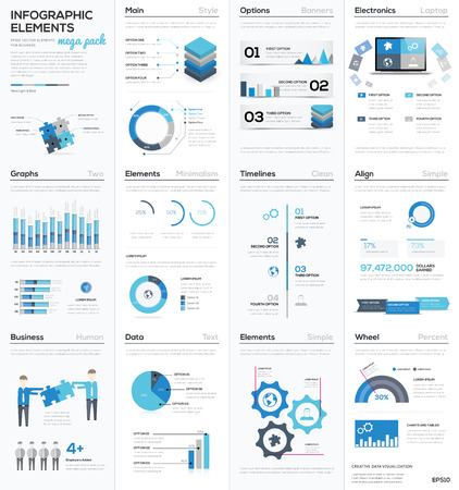 Illustration for Big colletion of blue infographic business vector elements EPS10 - Royalty Free Image