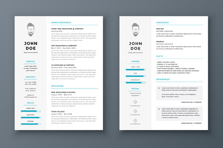 Illustration pour Resume and cv vector template. Awesome for job applications. - image libre de droit
