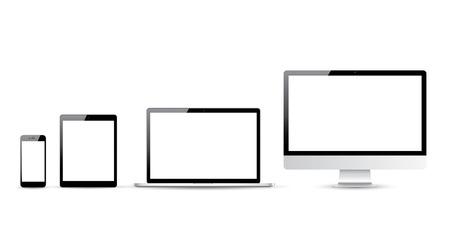 Illustration pour Computer, laptop, tablet and smartphone vector illustrations - image libre de droit