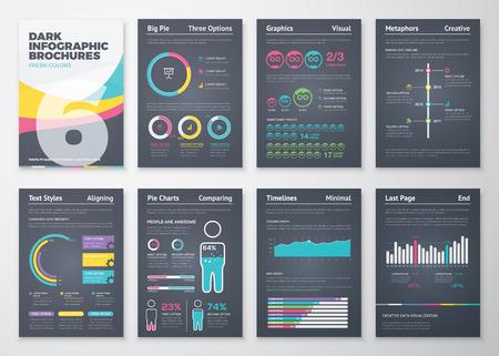 Illustration pour Black infographic business brochure elements in vector format - image libre de droit