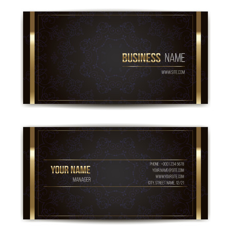 Elegant vector business card template. Vector format. Gold and dark colors.