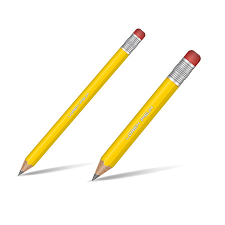Illustrazione per Realistic yellow sharp pencil isolated on white background. Wooden pencil. Vector illustration. - Immagini Royalty Free