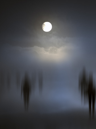 Photo pour Spooky diffuse entities walking. Other versions in my portfolio. - image libre de droit