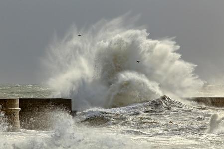 Big waves in a sunny storm. Portuguese north coast.