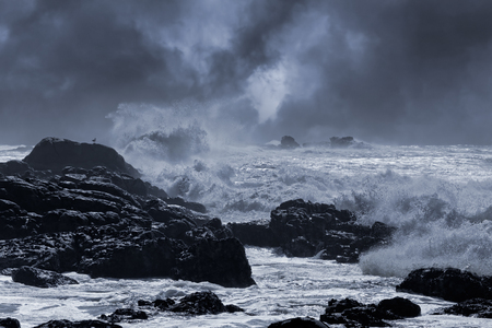 Photo pour Typical sea storm from northern portuguese coast. Slightly enhanced sky. Toned blue. - image libre de droit