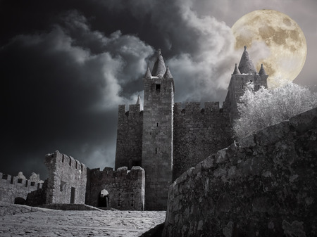Photo for Mysterious medieval castle in a cloudy full moon night. - Royalty Free Image