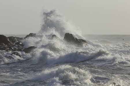 Foto de Big wave covering rocks from the northern portuguese coast. - Imagen libre de derechos