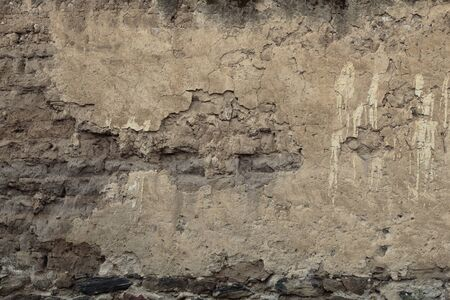 Photo for wide view of damaged adobe wall, horizontal format - Royalty Free Image